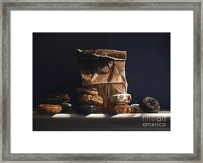 Bag Of Donuts Framed Print by Larry Preston