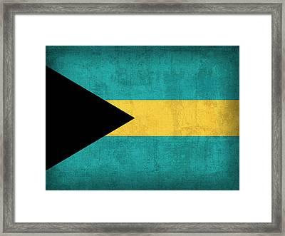 Bahamas Flag Vintage Distressed Finish Framed Print by Design Turnpike