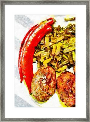 Baked Beans And Cutlets Painting Framed Print by Magomed Magomedagaev
