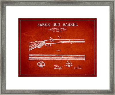 Baker Gun Barrel Patent Drawing From 1877- Red Framed Print by Aged Pixel