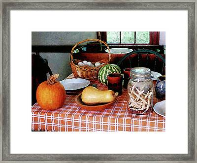 Baking A Squash And Pumpkin Pie Framed Print by Susan Savad