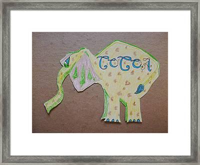 baking elephant Cocoa Framed Print by Carolina Campbell