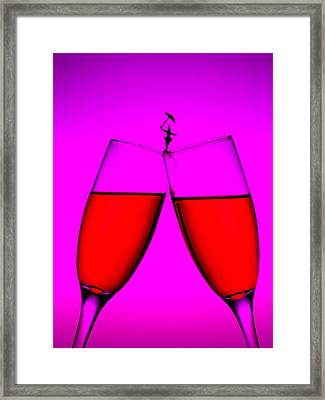 Balance On Red Wine Cups Little People On Food Framed Print by Paul Ge