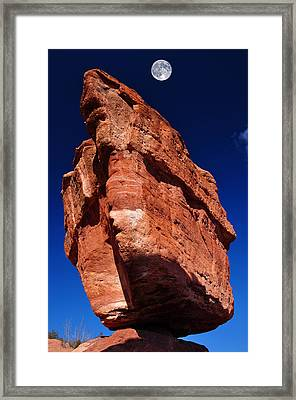 Balanced Rock At Garden Of The Gods With Moon Framed Print by John Hoffman