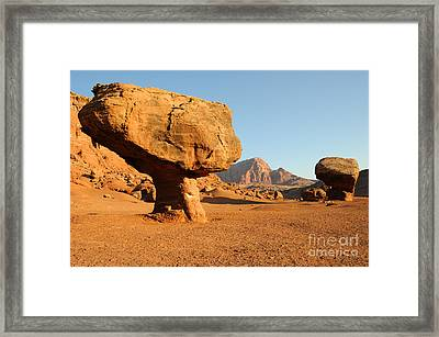 Balanced Rock Below Vermilion Cliffs Framed Print by Gary Whitton