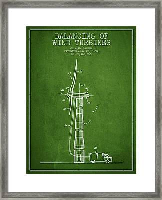 Balancing Of Wind Turbines Patent From 1992 - Green Framed Print by Aged Pixel