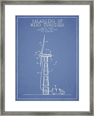 Balancing Of Wind Turbines Patent From 1992 - Light Blue Framed Print by Aged Pixel