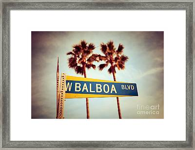 Balboa Blvd Street Sign Newport Beach Photo Framed Print by Paul Velgos
