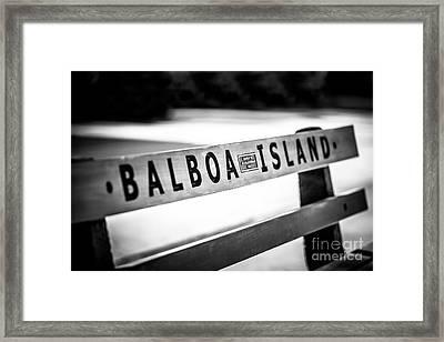 Balboa Island Bench In Newport Beach California Framed Print by Paul Velgos