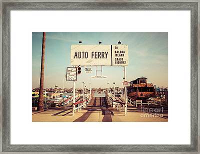 Balboa Island Ferry Newport Beach Vintage Picture Framed Print by Paul Velgos