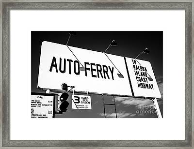 Balboa Island Ferry Sign Black And White Picture Framed Print by Paul Velgos