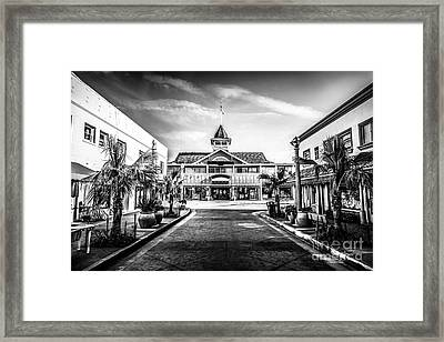 Balboa Pavilion Newport Beach Black And White Picture Framed Print by Paul Velgos
