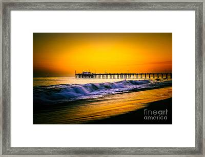 Balboa Pier Picture At Sunset In Orange County California Framed Print by Paul Velgos