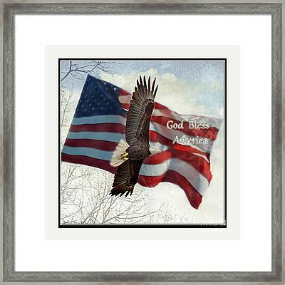 Bald Eagle  God Bless America Framed Print by Debbie Portwood