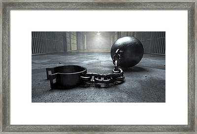 Ball And Chain In Prison Framed Print by Allan Swart