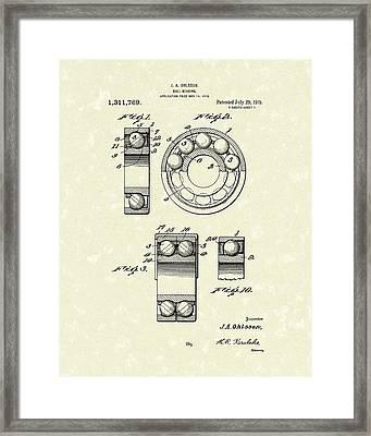 Ball Bearing 1919 Patent Art Framed Print by Prior Art Design