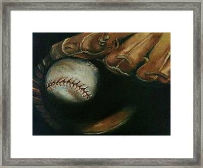Ball In Glove Framed Print by Lindsay Frost