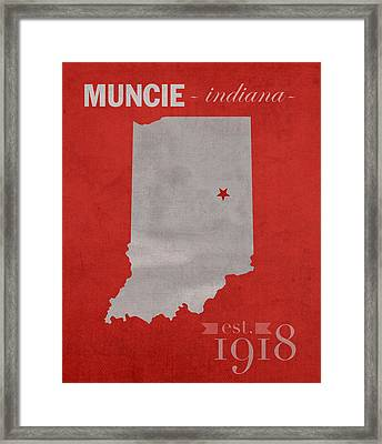 Ball State University Cardinals Muncie Indiana College Town State Map Poster Series No 017 Framed Print by Design Turnpike