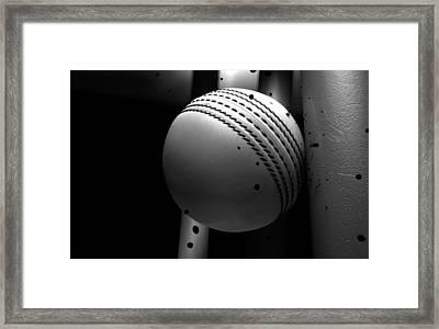 Ball Striking Stumps Framed Print by Allan Swart