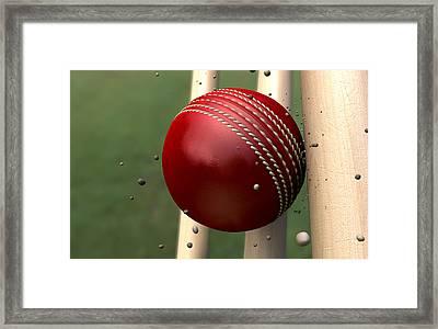 Ball Striking Wickets Framed Print by Allan Swart