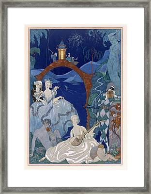 Ball Under The Blue Moon Framed Print by Georges Barbier