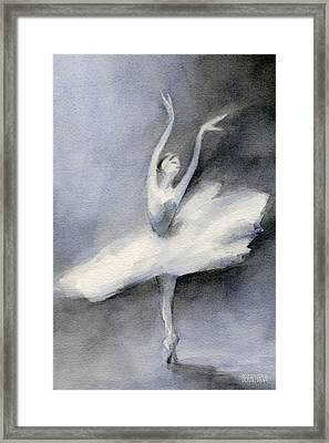 Ballerina In White Tutu Watercolor Painting Framed Print by Beverly Brown Prints