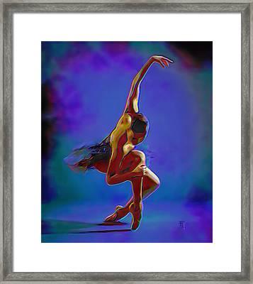 Ballerina On Point Framed Print by  Fli Art