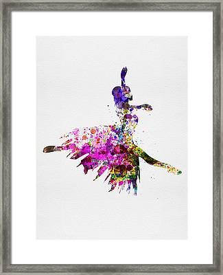 Ballerina On Stage Watercolor 4 Framed Print by Naxart Studio