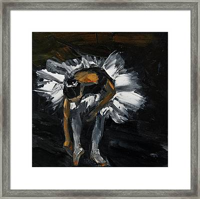 Ballerina Tying Pointe Shoes Framed Print by Jani Freimann