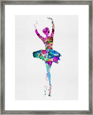 Ballerina Watercolor 1 Framed Print by Naxart Studio