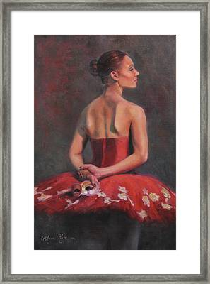 Ballerina With Mask Framed Print by Anna Rose Bain