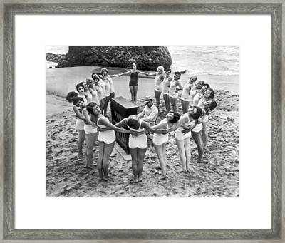 Ballet Rehearsal On The Beach Framed Print by Underwood Archives