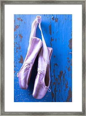 Ballet Shoes On Blue Wall Framed Print by Garry Gay