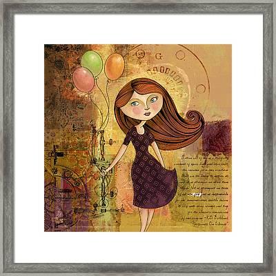 Balloon Girl Framed Print by Karyn Lewis Bonfiglio
