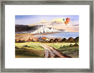 Ballooning Over The Seven Sisters Framed Print by Bill Holkham