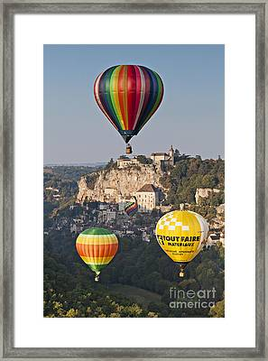 Balloons At Rocamadour Midi Pyrenees France Framed Print by Colin and Linda McKie