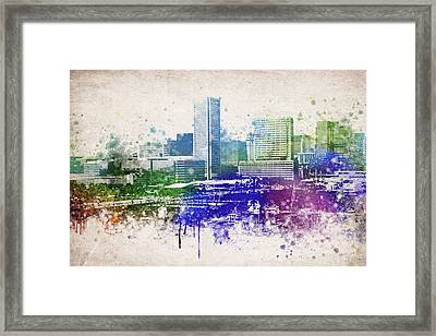 Baltimore City Skyline Framed Print by Aged Pixel