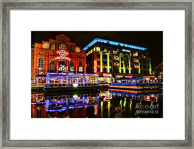 Baltimore Harbor Bridge Walk At Night Framed Print by Olivier Le Queinec