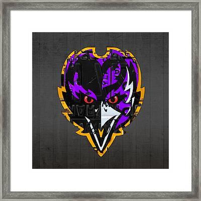 Baltimore Ravens Football Team Retro Logo Maryland License Plate Art Framed Print by Design Turnpike