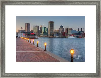 Baltimore Skyline At Twilight I Framed Print by Clarence Holmes