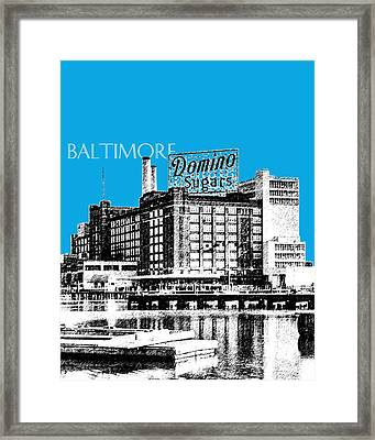 Baltimore Skyline Domino Sugar - Ice Blue Framed Print by DB Artist