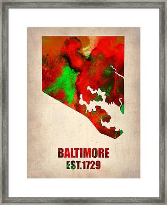 Baltimore Watercolor Map Framed Print by Naxart Studio