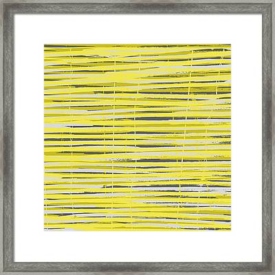 Bamboo Fence - Yellow And Gray Framed Print by Saya Studios