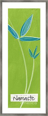 Bamboo Namaste Framed Print by Linda Woods
