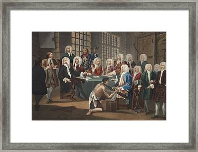 Bambridge On Trial For Murder Framed Print by William Hogarth
