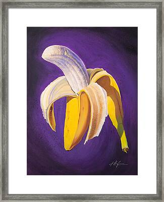 Banana Half Peeled Framed Print by Karl Melton