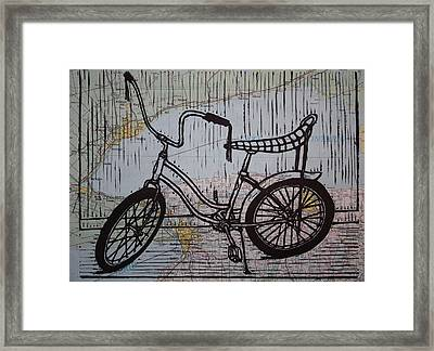 Banana Seat On Map Framed Print by William Cauthern