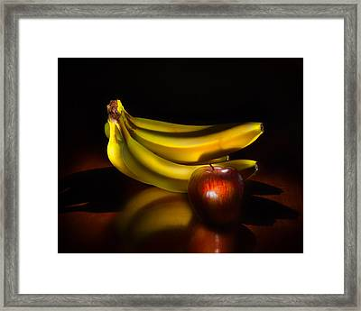 Bananas And Apple Still Life Framed Print by Wendy Thompson
