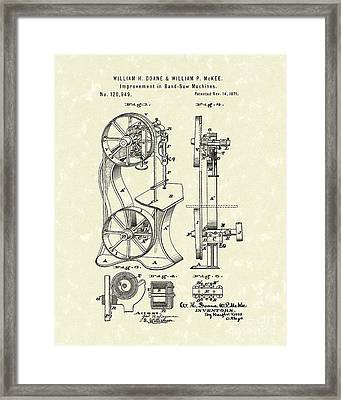 Band Saw 1871 Patent Art Framed Print by Prior Art Design