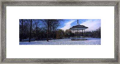 Bandstand In Snow, Regents Park Framed Print by Panoramic Images
